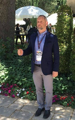 Rabbi Amichai Lau-Lavie poses at the Israeli President's Residence, May 31, 2016. (Courtesy)