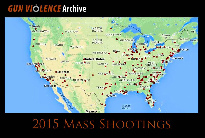 Clusters of 2015 mass shootings on a map of the United States from the Gun Violence Archive non-profit website (http://www.gunviolencearchive.org/)