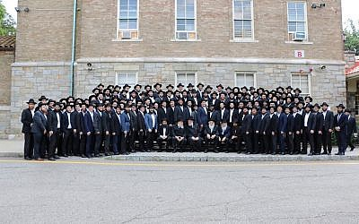Chabad rabbinical college graduates at their ordination ceremony in Morristown, NJ, June 26, 2016. (Chabad.org via JTA)