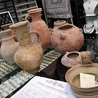 Thousands-of-years old jugs found on sale in Jerusalem's upscale Mamilla Mall on June 15, 2016. (Courtesy: Israel Antiquities Authority)