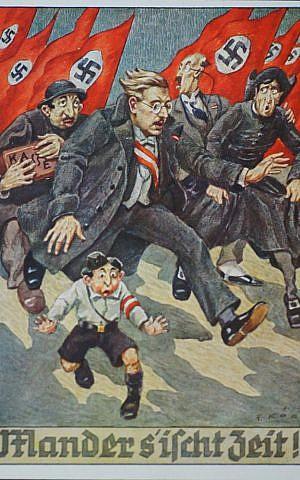 Unknown artist, Mander s'ischt Zeit! (It's Time Folks!), 1938. Postcard. (The Museum of World War II, Boston/New-York Historical Society)