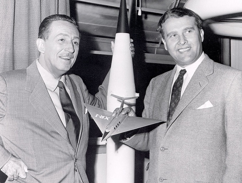 Walt Disney (left) visited former Nazi scientist Wernher von Braun in 1954, having long admired Hitler's brilliant young creator of awe-inspiring weapons (public domain)