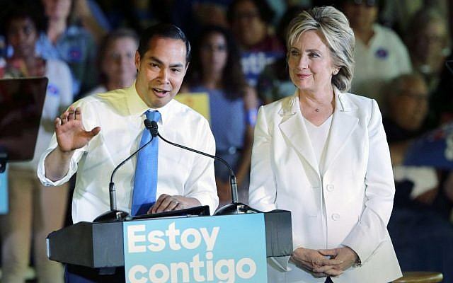 Housing and Urban Development Secretary Julian Castro joins Hillary Rodham Clinton at a campaign stop in San Antonio on Oct. 15, 2015 (AP Photo/Eric Gay)