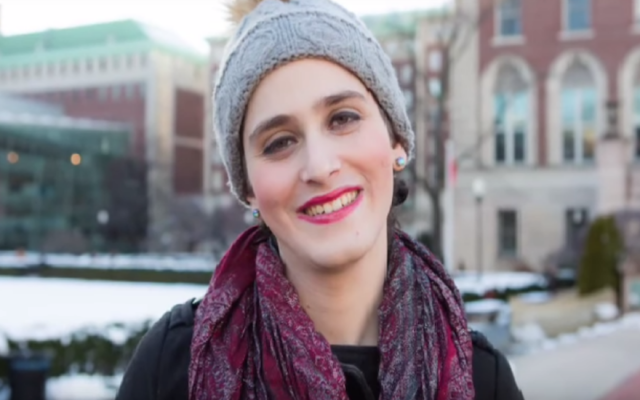 Abby Stein, seen after leaving the Hasidic community. (Screenshot from YouTube)