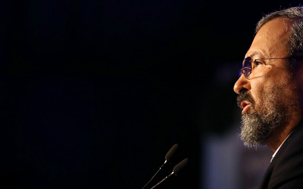 Ehud Barak speaks at the Herzliya Conference, June 16, 2016. (Adi Cohen Zedek)