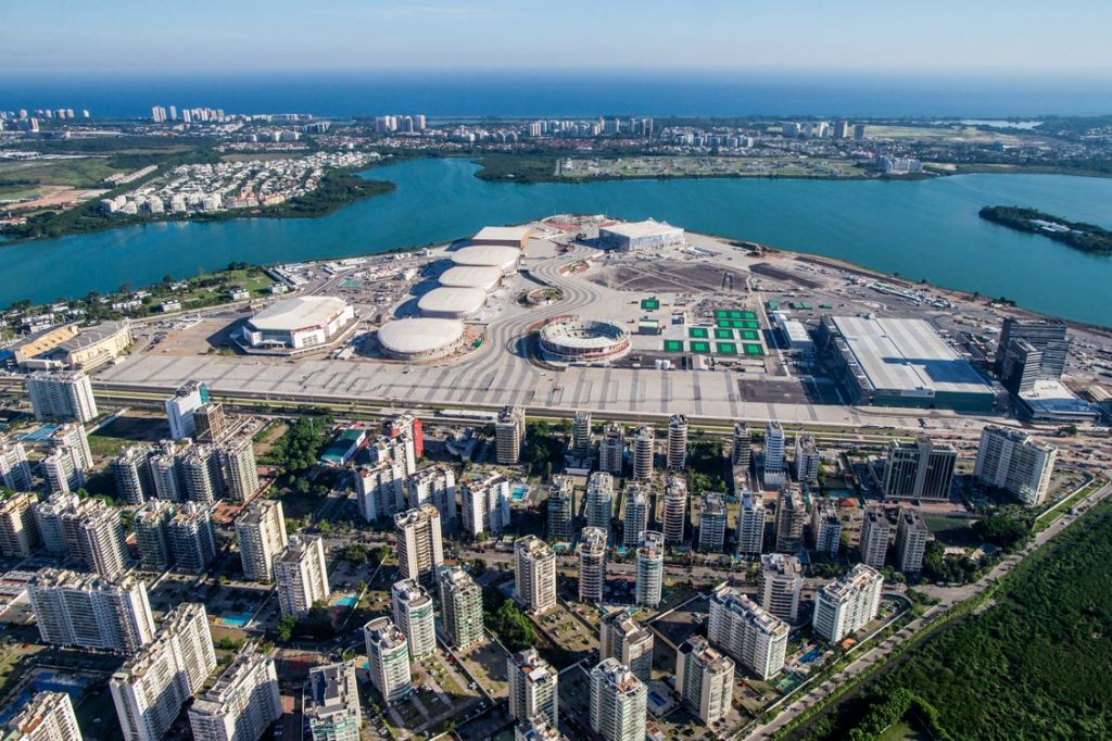 An aerial view of Rio 2016 Olympic Park during construction (Gabriel Heusi/Brasil2016.gov.br/via JTA)