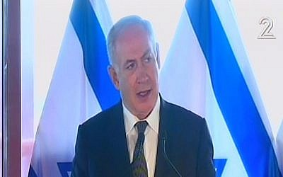 Prime Minister Benjamin Netanyahu announces Israel's reconciliation deal with Turkey on Monday, June 27, 2016 (screen capture: Channel 2)