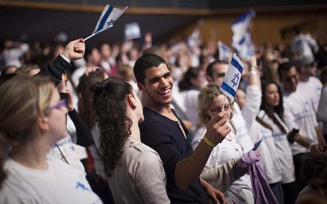 Young Jewish adults from all over the world participating in the Taglit Birthright program celebrate 10 years of Birthright at an event held at the International Conference Center in Jerusalem. (Photo by Yonatan Sindel/Flash90)
