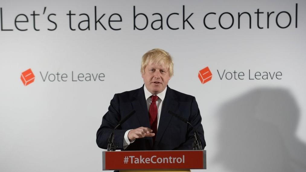 Vote Leave campaigner Boris Johnson holds a press conference at Vote Leave headquarters in London Friday June 24, 2016. (Stefan Rousseau/Pool via AP)
