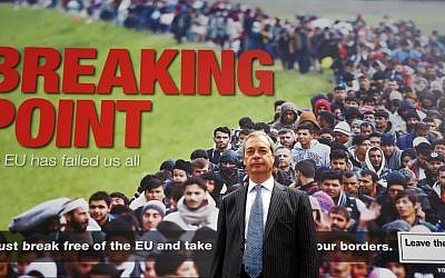 In this June 16, 2016 file photo, Leader of the UK Independence Party Nigel Farage poses for the media in front of an EU referendum campaign poster in London. (Philip Toscano/PA via AP)