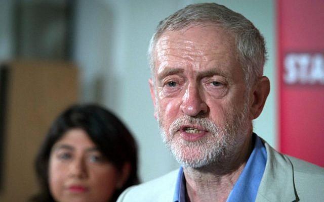 Britain's Labour leader Jeremy Corbyn makes a speech at Savoy Place, London, June 25, 2016. (Stefan Rousseau/PA via AP)