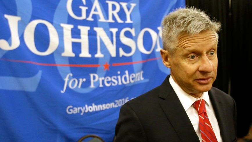 In a Friday, May 27, 2016 file photo, Libertarian presidential candidate Gary Johnson speaks to supporters and delegates at the National Libertarian Party Convention, in Orlando, Florida (AP Photo/John Raoux, File)