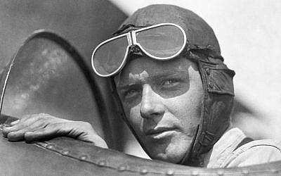 Charles Lindbergh, wearing helmet with goggles up, in an open cockpit of an airplane at Lambert Field, St Louis, Missouri, 1923. (Photo by Underwood Archives/Getty Images via JTA)
