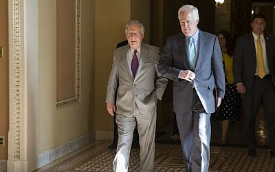 Senate Majority Leader Sen. Mitch McConnell, R-Ky., left, and Sen. John Cornyn, R-Texas, arrive for a vote on Capitol Hill, Monday, June 20, 2016, in Washington. A divided Senate hurtled Monday toward an election-year stalemate over curbing guns (AP Photo/Evan Vucci)