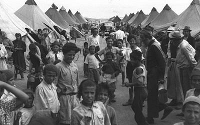 Yemenite immigrants in a camp near Ein Shemer in 1950 (Pinn Hans/GPO)