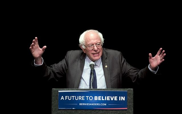 "Democratic presidential candidate Sen. Bernie Sanders, I-Vermont, delivers his ""Where We Go From Here"" speech, Friday, June 24, 2016, in Albany, New York. (AP Photo/Mike Groll)"