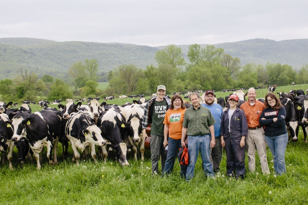 Cole Van Seters along with Theresa, Matthew, Isaac, Rachel, Ben and Amanda Freund on the Freund Family Farm in East Canaan, Connecticut. (Courtesy Cabot Creamery)