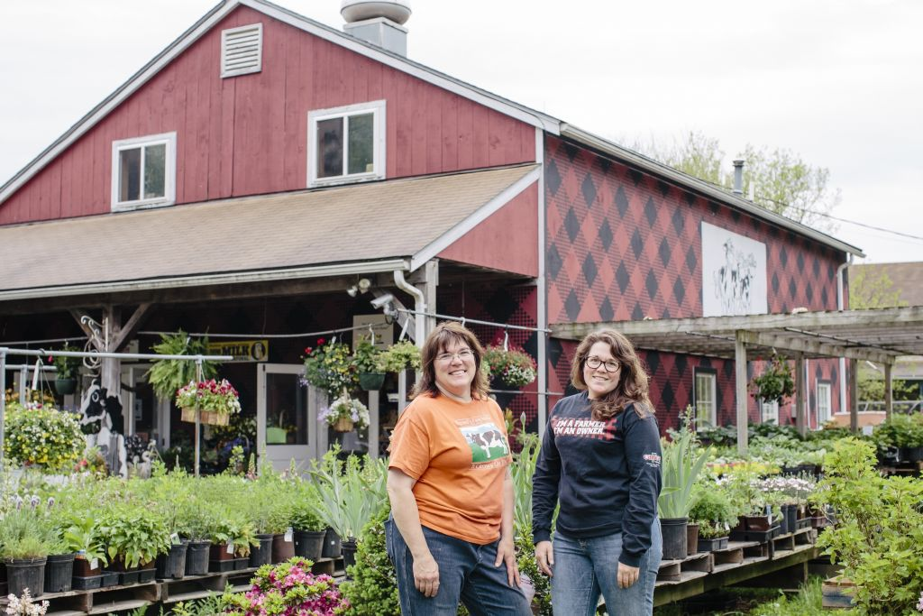 Theresa and Amanda Freund in front of Freund's Farm Market & Bakery. (Courtesy Cabot Creamery)
