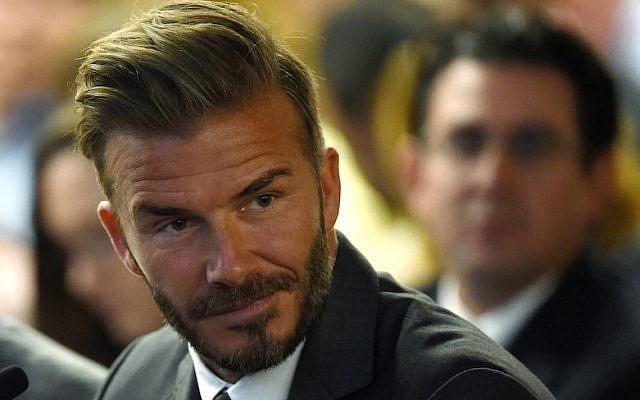 Former soccer player David Beckham on April 28, 2016 in Las Vegas, Nevada. (Ethan Miller/Getty Images/JTA)