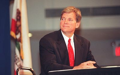 David Duke, former Ku Klux Klan grand wizard during the debate with Joe Hicks at Cal State University. Debate dealt with Proposition 209.  (Photo by Brian Vander Brug/Los Angeles Times via Getty Images)