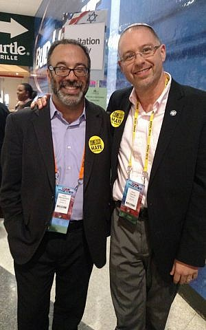 Rabbi David Paskin (right) with Rabbi Menachem Creditor at AIPAC's policy conference in March 2016 (Facebook)
