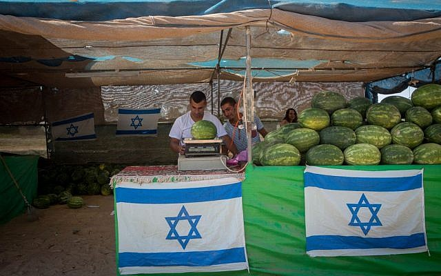Illustrative photo of a watermelon stand by the side of the road, in the Southern Israeli town of Sderot, July 06, 2015. (Miriam Alster/FLASH90)