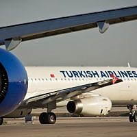 A Turkish Airlines flight seen at the airstrip at Ben Gurion International Airport. February 26, 2015. (Moshe Shai/FLASH90)