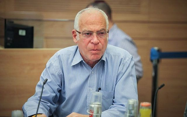 Agriculture Minister Uri Ariel attends a committee meeting in the Knesset on February 3, 2016 (Issac Harari/Flash90)