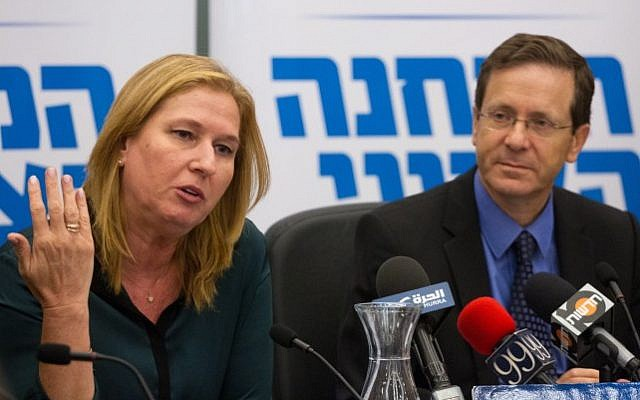 Zionist Union party co-founders, Tzipi Livni and Isaac Herzog, during a party  meeting at the Knesset, on May 23, 2016. (Miriam Alster/Flash90)