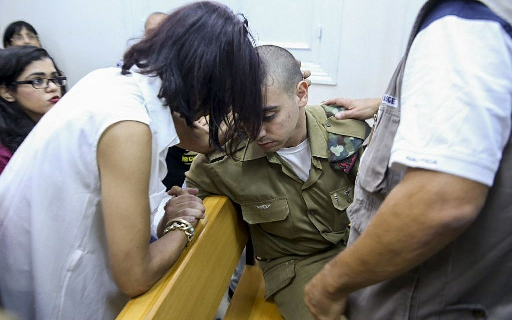 IDF Sgt. Elor Azaria, accused of killing a disarmed Palestinian attacker in Hebron, during a hearing at Jaffa Military Court, June 1, 2016. (Flash90)
