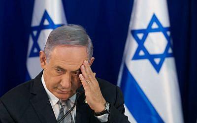Prime Minister Benjamin Netanyahu seen at a special cabinet meeting for Jerusalem Day at Ein Lavan spring in Jerusalem, June 2, 2016. (Marc Israel Sellem/POOL)