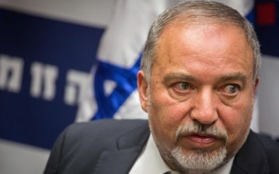 Defense Minister Avigdor Liberman speaks during an Israel Beytenu faction meeting at the Knesset on June 6, 2016. (Hadas Parush/Flash90)