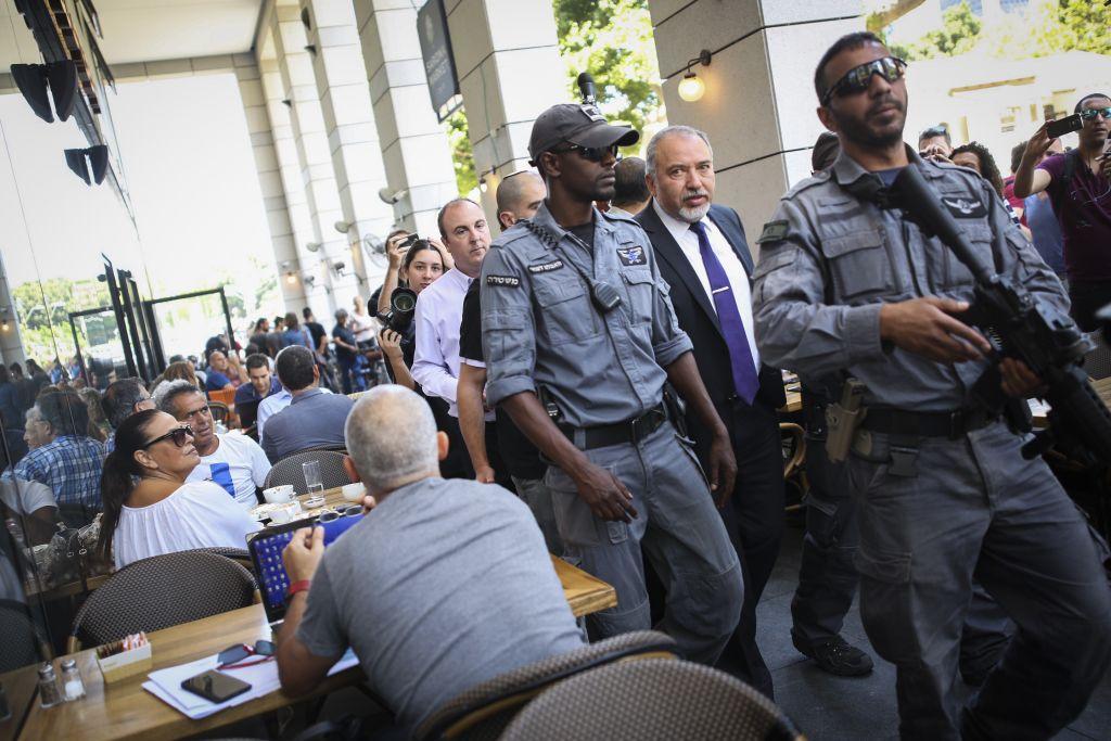 Defense Minister Avigdor Liberman at Sarona Market shopping center in Tel Aviv, on June 9, 2016. (Miriam Alster/Flash90)
