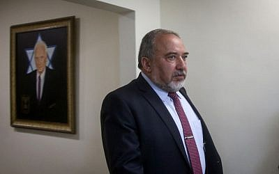 Defense Minister Avigdor Liberman before the weekly cabinet meeting at PM Netanyahu's office in Jerusalem on June 13, 2016. (Marc Israel Sellem)