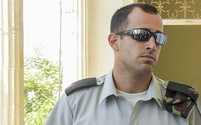 Maj. Tom Na'aman, commanding officer of Elor Azaria, arrives for a court hearing at the Jaffa Military Court, June 16, 2016. (Flash90)