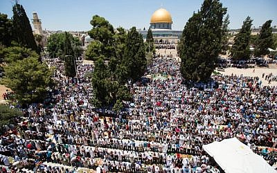 Thousands of Muslims pray in front of the Dome of the Rock on the compound known to Muslims as al-Haram al-Sharif and to Jews as Temple Mount during the second Friday of the holy month of Ramadan in Jerusalem's Old City, June 17, 2016. (Suliman Khader/Flash90)