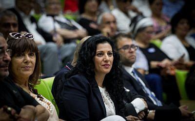 "MK Nurit Koren (Likud) at a conference on the ""Yemenite Children Affair"" in the Knesset, June 21, 2016. (Miriam Alster/Flash90)"