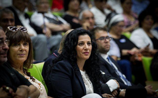 """MK Nurit Koren leads an event on the """"Yemenite Children Affair"""", in the Israeli parliament on June 21, 2016. (Miriam Alster/FLASH90)"""