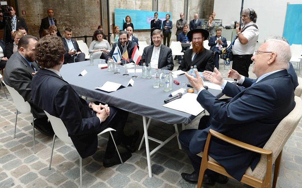 President Reuven Rivlin meets with religious leaders at the Red Star Line museum in Brussels, Belgium on June 21, 2016. (Mark Neyman/GPO)