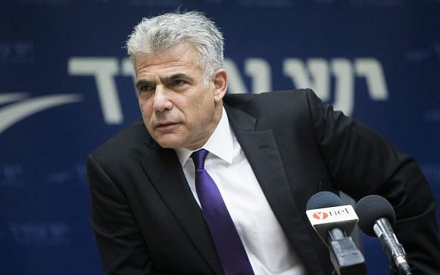 Yesh Atid party chairman, Yair Lapid, speaks during a faction meeting at the Knesset, June 27, 2016. (Yonatan Sindel/Flash90)