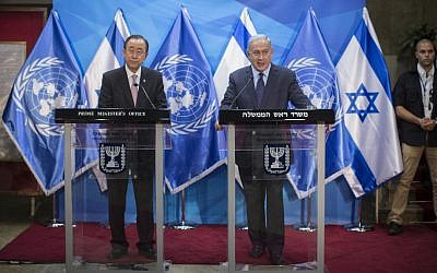 United Nations Secretary-General Ban Ki-moon, left, and Prime Minister Benjamin Netanyahu hold a joint press conference at the Prime Minister's Office in Jerusalem, June 28, 2016. (Yonatan Sindel/Flash90)