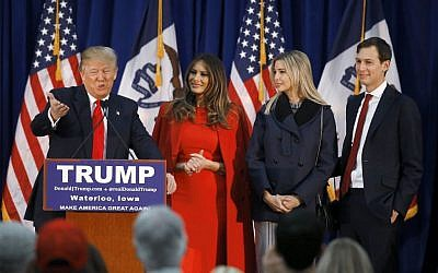 Republican presidential candidate Donald Trump, accompanied by, from second from left, wife Melania, daughter Ivanka her husband Jared Kushner, speaks during a campaign event in Waterloo, Iowa, February 1, 2016. (AP/Paul Sancya)