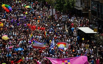 About 200,000 people participate at the annual Gay Pride Parade in Tel Aviv, on June 3, 2016. (Miriam Alster/Flash90)