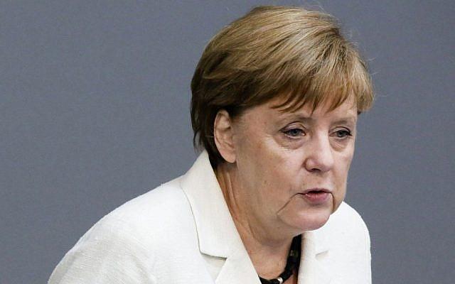 German Chancellor Angela Merkel addresses the German Bundestag June 28, 2016. (AP Photo/Markus Schreiber)