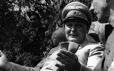 Hermann Goering speaking with a foreign journalist in his private garden in Augsburg, Germany, May 13, 1945. (Getty Images via JTA)