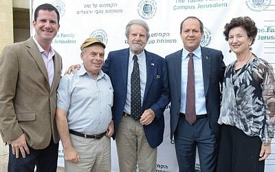 From left: Sean Taube, Jewish Agency chairman Natan Sharansky, Taube Philanthropies founder and chairman Tad Taube, Jerusalem mayor Nir Barkat, and Taube Philanthropies executive director Shana Penn celebrate as The Taube Family Campus at Hebrew Union College-Jewish Institute of Religion is named in Jerusalem,  June 29, 2016. (Avi Hayun)