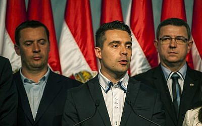 Chairman of the radical nationalist Jobbik party Gabor Vona, delivers a speech after the parliamentary elections in the Budapest Congress Centre in Budapest, Hungary,  April 6, 2014. (AP Photo/MTI, Janos Marjai)