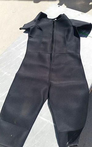 One of the wesuits hidden in a shipment of sporting goods to the Gaza Strip, believed to be en route to Hamas, on June 20, 2016. (Defense Ministry)