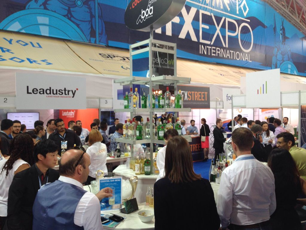 Open bar serving cocktails at the IFX Expo Cyprus conference, May 2016 (Hunter Stuart)