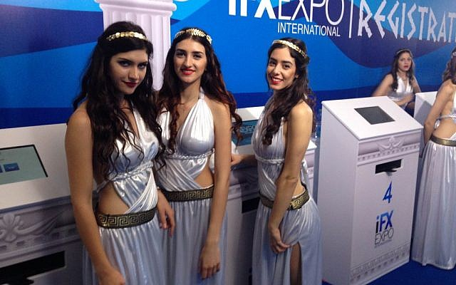 Models in Greek-themed costume greet conference attendees at the IFX Expo Cyprus conference, May 2016 (Hunter Stuart)